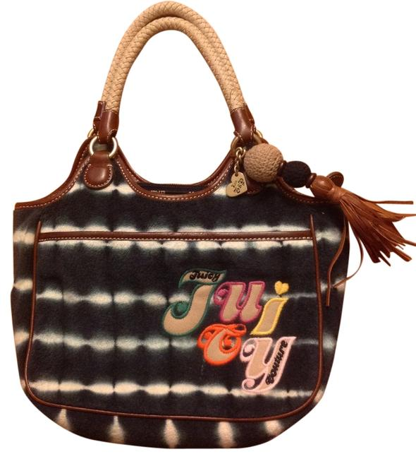 Item - Rn # 52002/Ca # 15396 Navy Blue and White Cotton/Cowhide Leather Tote