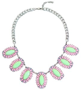 Crew Style Crystal Coral Coated Stone Statement Necklace