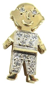 Vintage 14KT YELLOW GOLD 3D PENDANT LITTLE BOY CHARM 2.1DWT 12 DIAMOND .18CT CHILDREN
