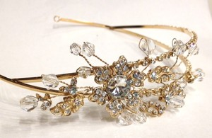 Gold Flower Rhinestone And Crystal Hair Band Tiara Crown Frontlet