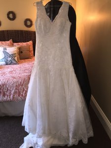 Kenneth Winston Ivory Lace 1521 Traditional Wedding Dress Size 14 (L)
