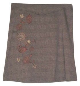 New York & Company Ny Co. Applique Autumn Stretch A-line Checks Checkered Scotch Skirt Plaid, Brown