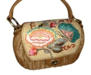 Eric Javits Multi gorgeous colors on flap, natural wicker colo Clutch