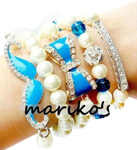 Blue Mustache Moustache Bow Arm Candy Bracelets