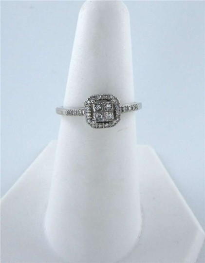 Vintage 14KT WHITE GOLD CENTER 4 DIAMOND .20CT WEDDING RING COCKTAIL 1.6DWT SZ 7 CLASSIC