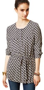 Maeve Bird Print Roll-tab Sleeves Tunic