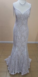 Alfred Angelo Ivory/Linen Lace 8531 Modern Wedding Dress Size 10 (M)