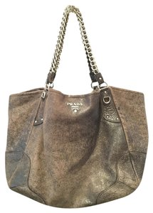 Prada Leather Silver Hardware Hobo Bag