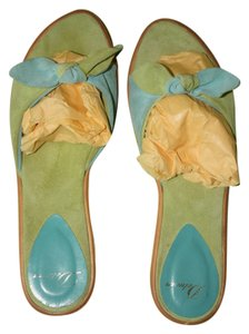 Delman Soft Suede Turquoise and Lime Sandals