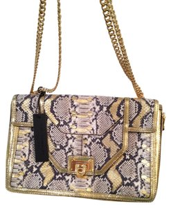 Rebecca Minkoff Oversized Clutch Chain-link Strap Gold Gold Hardware Snakeskin Embossed Shoulder Bag
