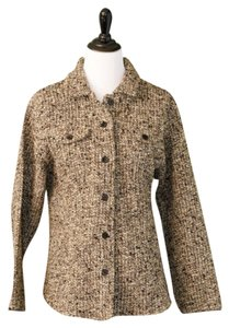 Chico's Tweed Sweater Jacket Jacket Size 14 Brown/Cream/Tan Tweed Blazer