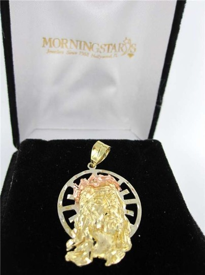 Vintage 14KT YELLOW GOLD PENDANT PINK JESUS CHRISTIAN CHRIST HOLLY FACE RELIGION CHARM