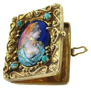 Vintage 14KT YELLOW GOLD ENAMEL PENDANT VINTAGE ANTIQUE WOMAN TURQUOISE PILL BOX OPENS