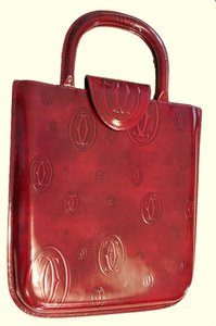 Cartier Patent Leather Tote in Burgundy