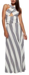 Gray and White Maxi Dress by Fashion Dazzle Maxi Striped