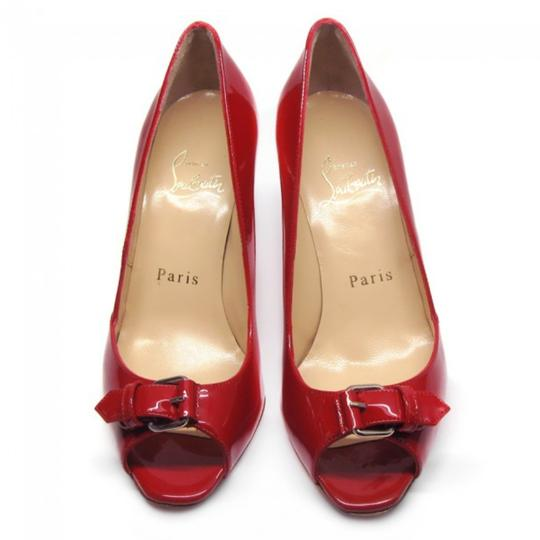 Christian Louboutin Open Toe Peep Toe Patent Patent Leather Red Pumps