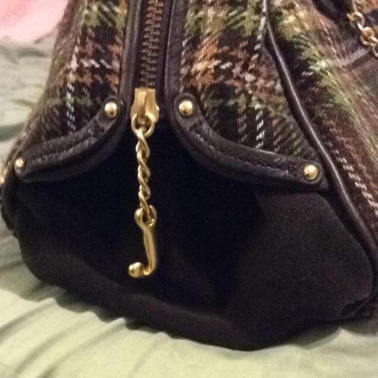 Juicy Couture Plaid Chain Flower Leather Satchel in Tweed
