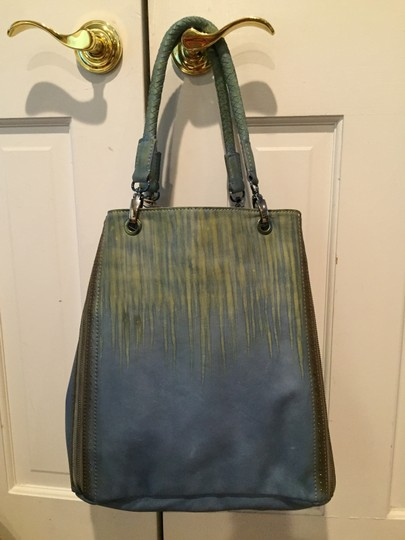 Old Trend Handpainted Leather Tote in Blue & Green