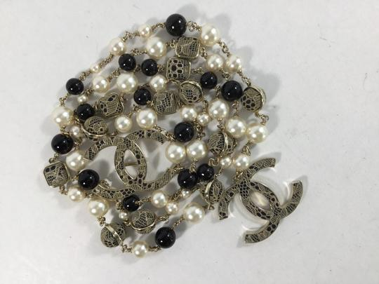 Chanel Chanel Pearl Lace Black Ivory Cc Chain Bet