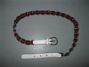 Gucci Gucci 85 White Leather Red Navy Webbing Gold Chain Belt