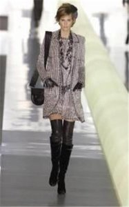 Chanel Iconic 03a Runway Black White Boucle Coat