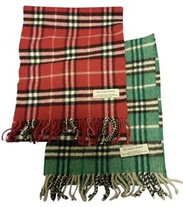 Burberry Red checker Green checker lambswool/cashmere scarves