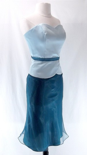 Alfred Angelo Teal / Baby Blue Satin / Organza 6454 Formal Bridesmaid/Mob Dress Size 8 (M)