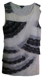 Ann Taylor Lace Xs Sleeveless Top Black/Ivory