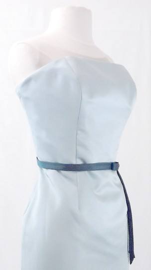 Alfred Angelo Teal / Baby Blue Satin Style 6456 Formal Bridesmaid/Mob Dress Size 12 (L)