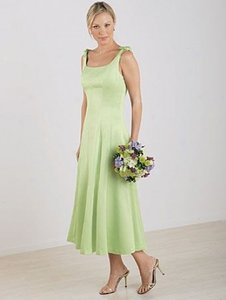 Alfred Angelo Pistachio Satin Style 6309 Casual Bridesmaid/Mob Dress Size 8 (M)