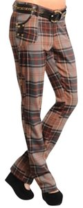 Zoompy Plaid Skater Straight Pants Brown-Grey