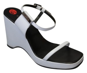 Gucci Logo Platforms Ankle Strap White Wedges