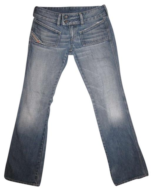 Diesel Designer Italy Fashion Style Wide Waistband Boot Cut Jeans-Medium Wash