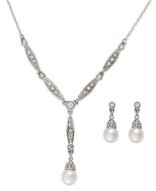 Item - Silver Pearl Diamond Box In Wore 1 Time Jewelry Set