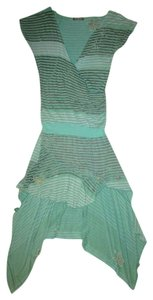 Religion short dress Mint green / Charcoal grey Designer Style High Low Jersey Rayon Distressed Stripes Flower on Tradesy