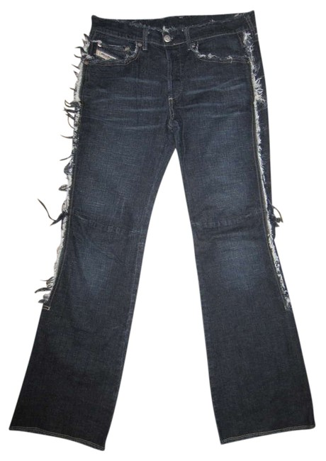 Diesel Designer Stretch Distressed Frayed Lowrise Boot Cut Jeans-Distressed