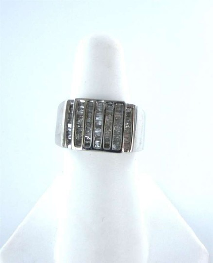Vintage 14KT WHITE GOLD MEN RING 5.4DWT FATHER DAY 72 DIAMOND SZ 7 CLUSTER TREND FORMAL