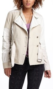 Anthropologie Patched Surplus Khaki Coat Trench 3/4 Sleeve Long Sleeve Belted khaki, beige Jacket
