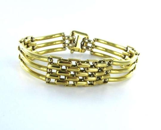 Vintage SAURO BRACELET 18K SOLID YELLOW GOLD BANGLE JEWELRY 38.2.DWT BAR WEAVE LINK FINE