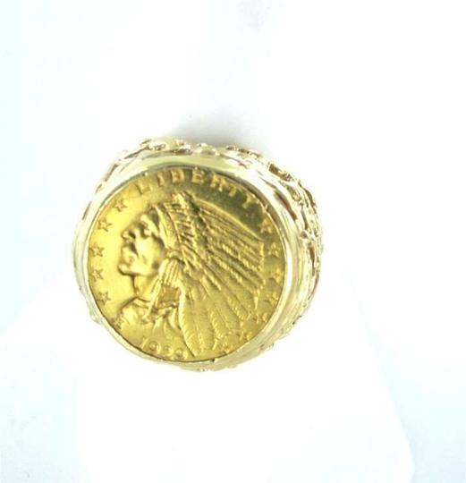 Vintage LIBERTY INDIAN HEAD GOLD COIN RING 1929 14KT YELLOW GOLD 16.1DWT HEAVY SZ 9 MEN