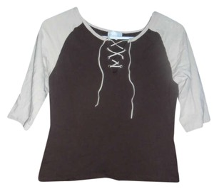 Charlotte Russe Raglan Lace Up 3/4 Sleeves T Shirt Tan/Brown