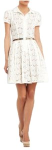 BCBGMAXAZRIA short dress White (not pure white) Lace Buttons Pockets Collar Bcbg A-line Timeless on Tradesy