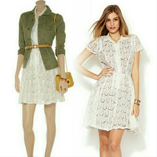 BCBGMAXAZRIA short dress White (not pure white) Lace Shirtdress Buttons Pockets Collar Bcbg Offwhite A-line Timeless on Tradesy