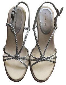 Banana Republic High Heels Silver Wedges