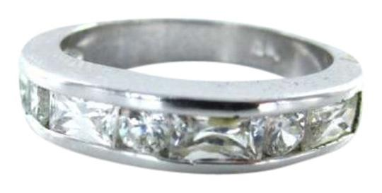 Vintage STERLING SILVER RING WHITE STONES 2.3DWT BAND VINTAGE SZ7 JEWELRY PRECIOUS METAL