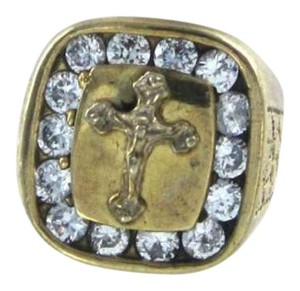 Vintage 10KT YELLOW GOLD CROSS RING 5.3DWT SZ5.5 WHITE STONE CLUSTER CRUCIFIX CHRISTIAN