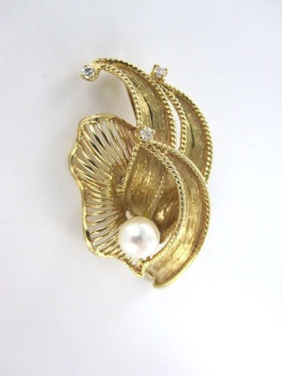 Vintage 14KT YELLOW GOLD VINTAGE PIN BROOCH SIGNED ALA PEARL DIAMOND FLOWER VINTAGE 1960