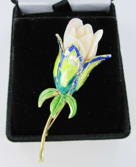 Vintage FLOWER ROSE PIN BROOCH 14K YELLOW GOLD ENAMEL 14.8 DWT VINTAGE COLLECTOR TULIP