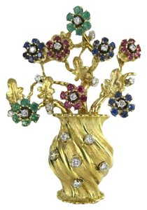 Vintage 18KT YELLOW GOLD PIN BROOCH ITALY 20 DIAMONDS STONES RUBY SAPPHIRE FLOWERS BIG