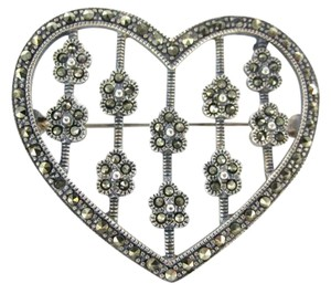 Vintage MARCASITE PIN BROOCH HEART FLOWER 7.3DWT STERLING SILVER JEWERLY VINTAGE PENDANT